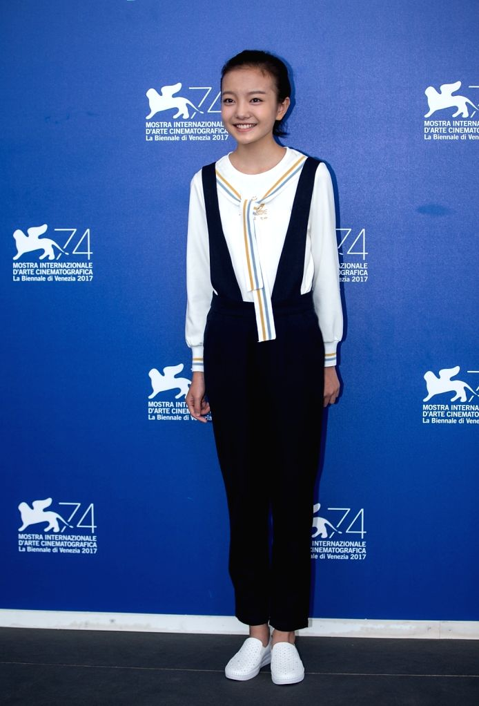 """VENICE, Sept. 7, 2017 - Actress Zhou Meijun poses during a photocall for the movie """"Angels wear white"""" at the 74th Venice Film Festival in Venice, Italy, Sept. 7, 2017. - Zhou Meijun"""