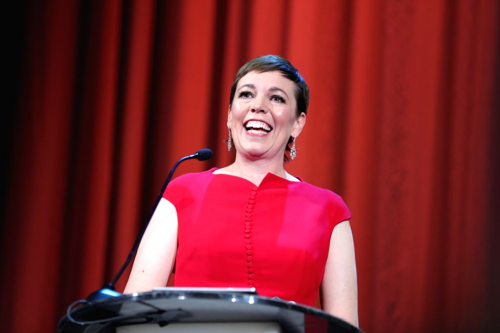 """VENICE, Sept. 8, 2018 (Xinhua) -- British actress Olivia Colman delivers a speech after winning the Best Actress award for her performance in """"The Favourite"""" at the 75th Venice International Film Festival, in Venice, Italy, Sept. 8, 2018. (Xinhua/Che - Olivia Colman"""