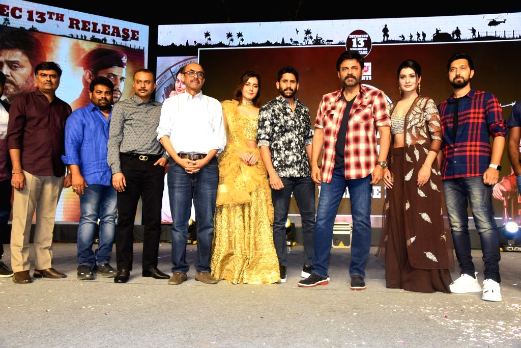 Venky Mama Group Photos From Pre Release Event in Khammam.