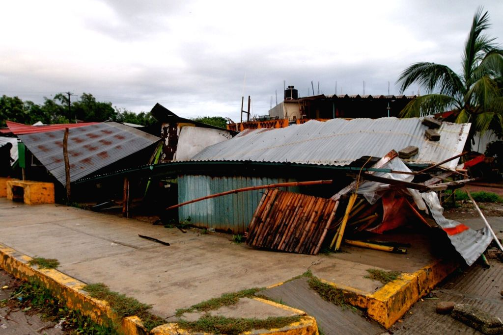 VERACRUZ, Sept. 10, 2017 (Xinhua) -- A house affected by hurricane Katia is seen in Tecolutla, state of Veracruz, Mexico, Sept. 9, 2017. Tropical storm Katia left at least two people dead in Mexico's Gulf Coast state of Veracruz, and threatened to in