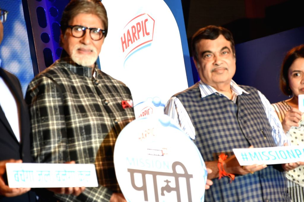 """Veteran actor Amitabh Bachchan and Union Road Transport and Highways and Micro, Small and Medium Enterprises Minister Nitin Gadkari at the launch of  """"Mission Paani"""" organised by ... - Amitabh Bachchan"""