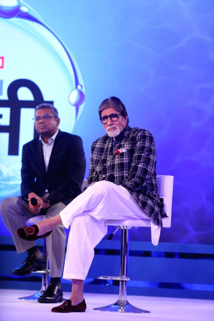 "Veteran actor Amitabh Bachchan during the launch of  ""Mission Paani"" organised by Harpic-News18 in Mumbai, on Aug 27, 2019. - Amitabh Bachchan"