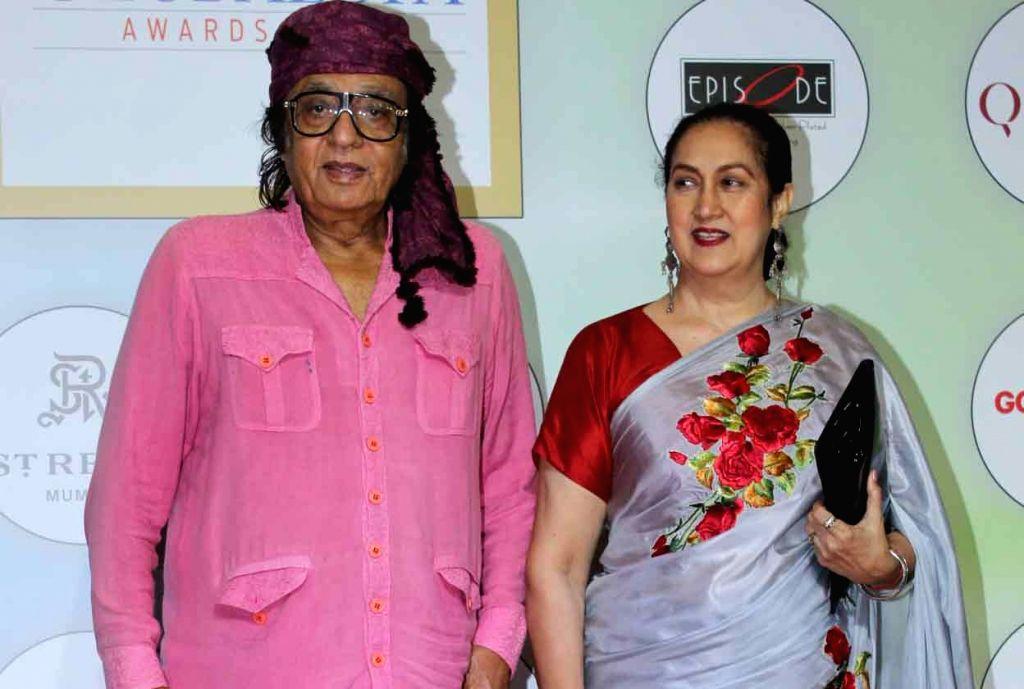 Veteran actor Ranjeet with his wife Aloka Bedi on the red carpet of the GeoSpa Awards 2019, in Mumbai, on April 24, 2019. - Ranjeet and Aloka Bedi