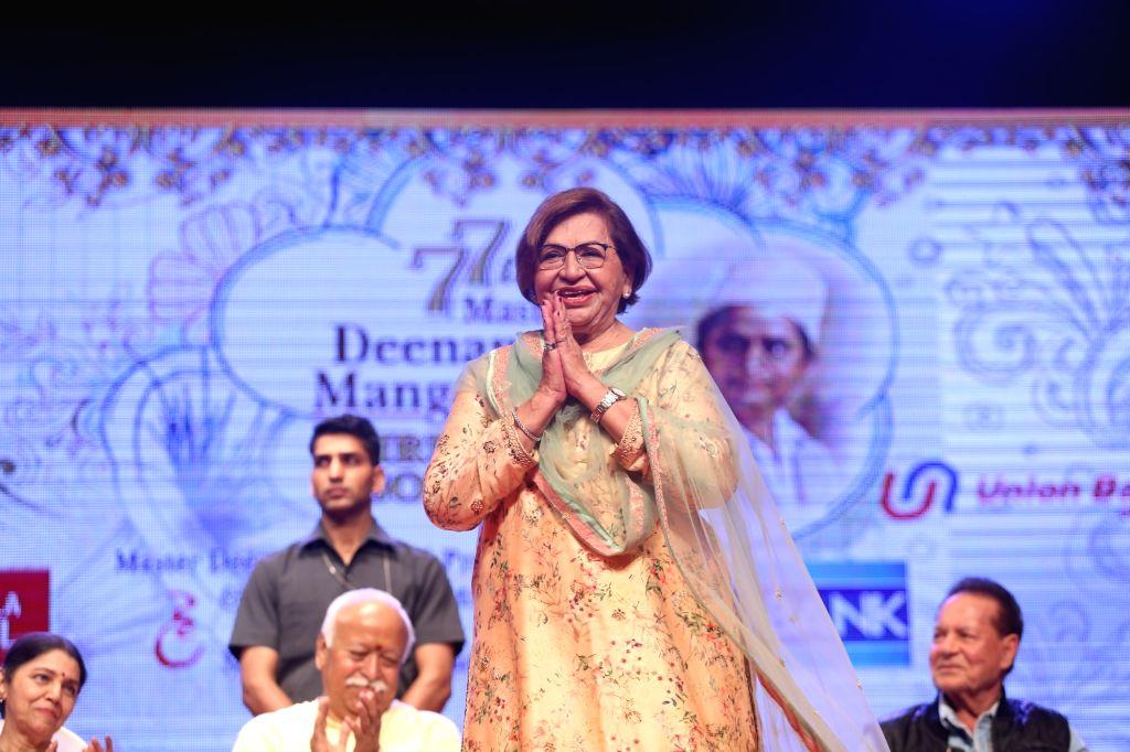 Veteran actress Helen during 2019 Deenanath Mangeshkar Awards, in Mumbai, on April 24, 2019. - Helen