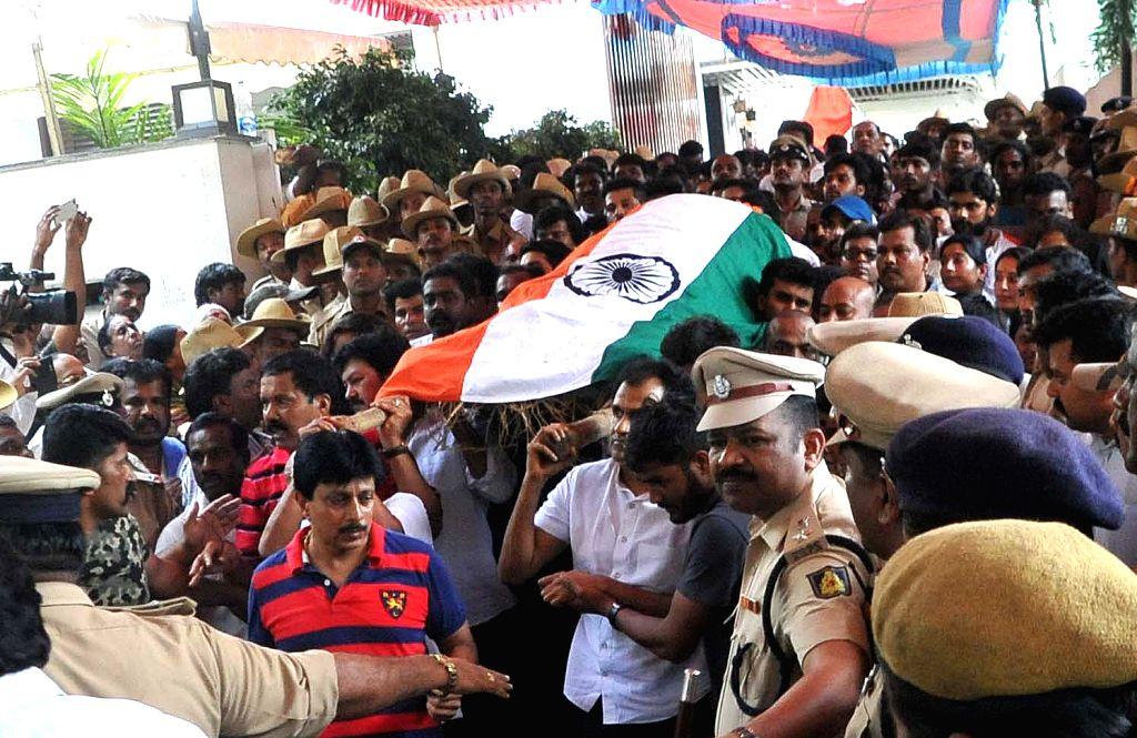Veteran Kannada film producer and distributor Parvathamma Rajkumar, widow of Kannada matinee idol Rajkumar in Bengaluru on May 31, 2017. Parvathamma Rajkumar passed away due to cardiac ...