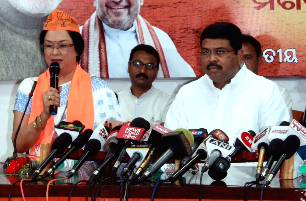 Veteran Odia actress Mahasweta Ray talks to the press after she joined BJP in the presence of Union Petroleum Minister Dharmendra Pradhan at the party office in Bhubaneswar on Feb 12, ... - Mahasweta Ray
