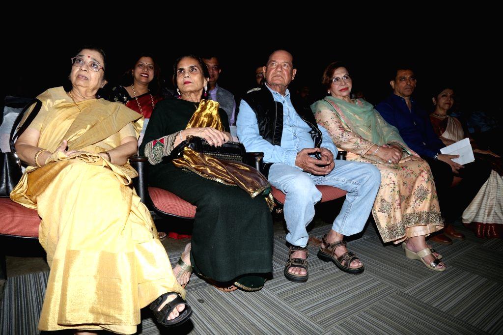 Veteran screenwriter-actor Salim Khan with his wife-actress Helen and Salma Khan, mother of actor Salman Khan during the 2019 Deenanath Mangeshkar Awards, in Mumbai, on April 24, 2019. - Salim Khan, Salma Khan and Salman Khan