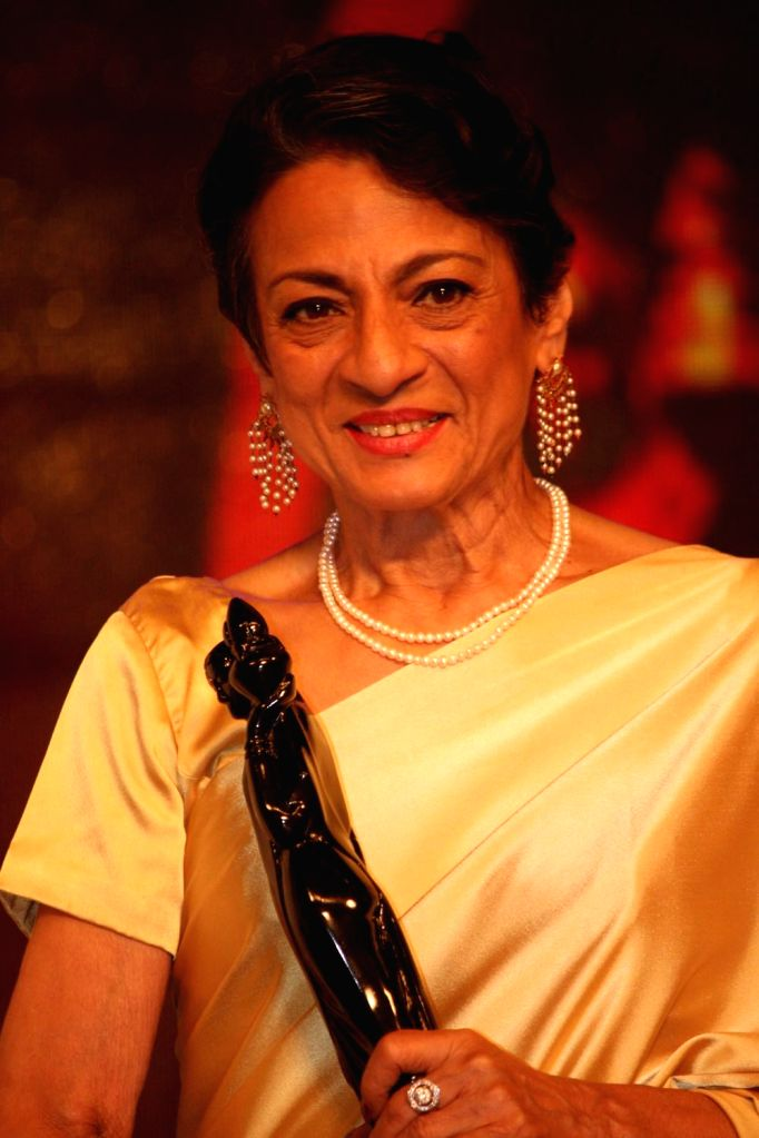 Vetran actress Tanuja during the Raj Kapoor Awards ceremony in Mumbai, on August 12, 2014. Tanuja was awarded with the life time achievement award. - Kapoor Awards