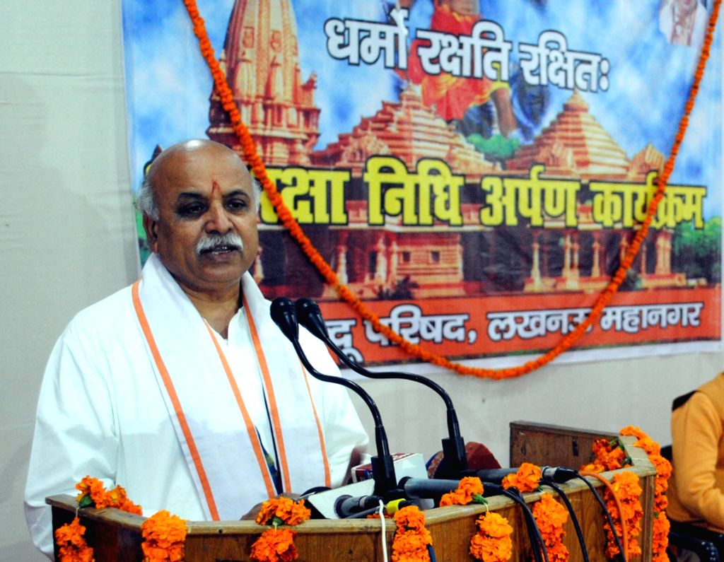 VHP leader Praveen Togadia addresses a press conference in Lucknow, on Jan 15, 2016.