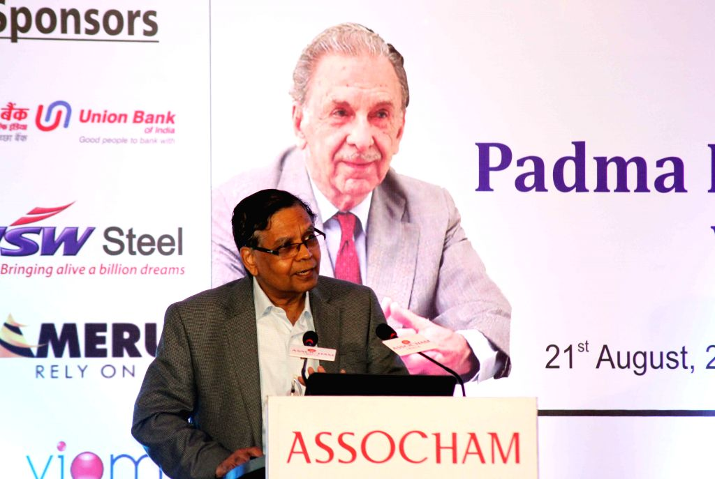Vice-chairman of the NITI Aayog Arvind Panagariya during the eighteenth JRD Tata Memorial Lecture organiused by ASSOCHAM in New Delhi, on Aug 21, 2015.