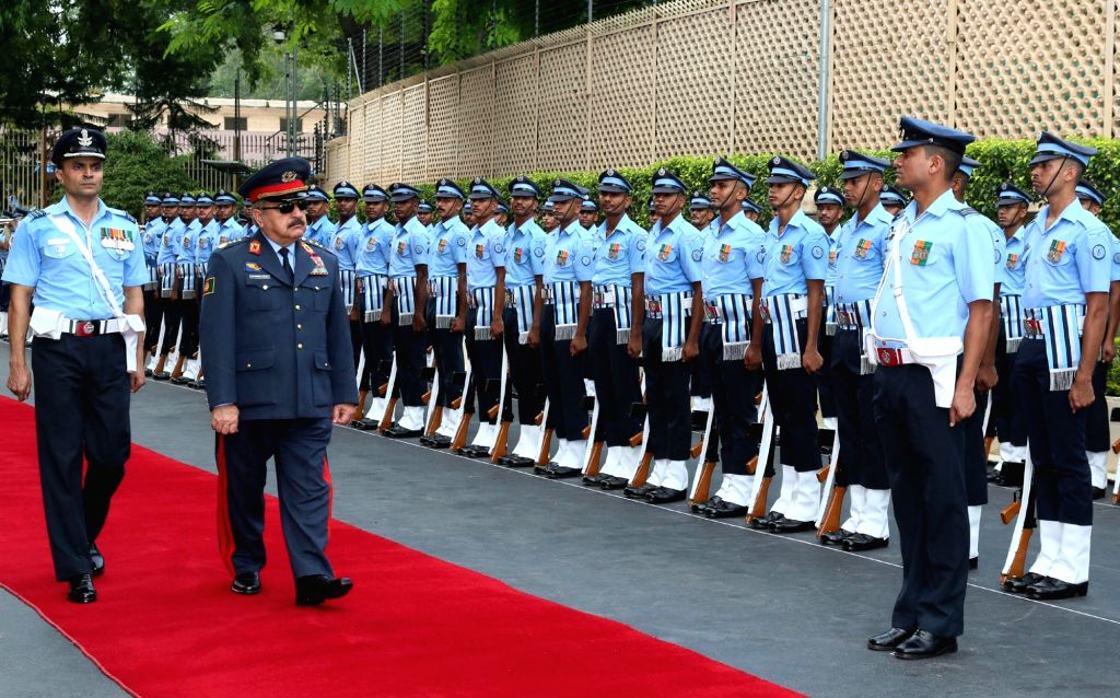 Vice Chief of General Staff (Air), Afghanistan National Security Forces, Lieutenant General Abdul Wahab Wardak reviews the Guard of Honour, in New Delhi on July 3, 2017.