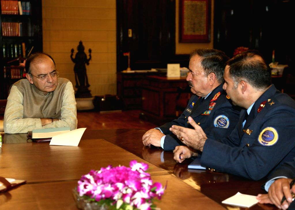 Vice Chief of General Staff (Air), Afghanistan National Security Forces, Lieutenant General Abdul Wahab Wardak calls on Union Defence Minister Arun Jaitley at North Block in New Delhi on ... - Arun Jaitley