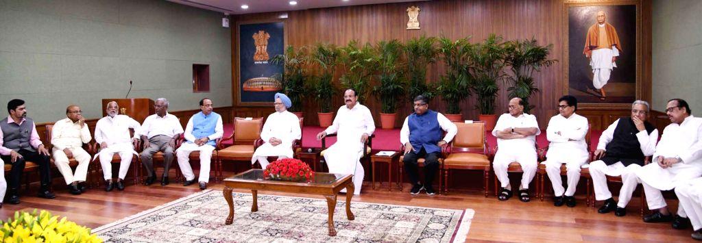 Vice President and Rajya Sabha Chairman M. Venkaiah Naidu with Union Ministers and BJP leaders Thawar Chand Gehlot, Piyush Goel and Ravi Shankar,  Prasad, TRS leader K. Keshava Rao, CPI-M ... - M. Venkaiah Naidu, K. Keshava Rao and Gopal Yadav