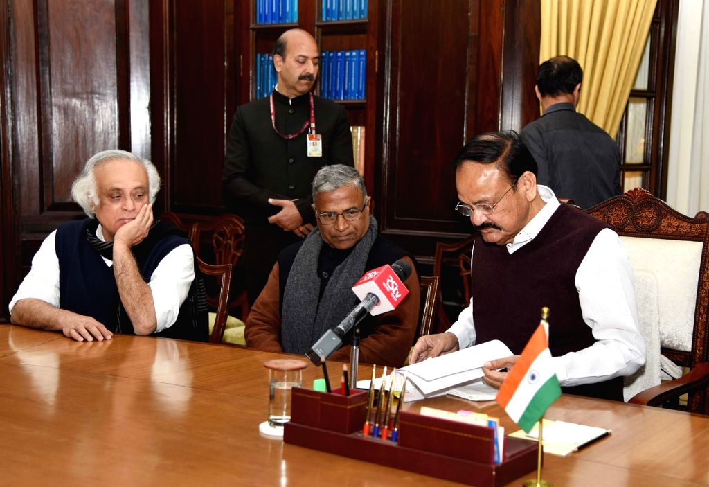 Vice President and Rajya Sabha Chairman M. Venkaiah Naidu receives the Report of the Adhoc Committee on preventing sexual abuse of children and child pornography from senior Congress MP ... - Harivansh Narayan Singh and M. Venkaiah Naidu