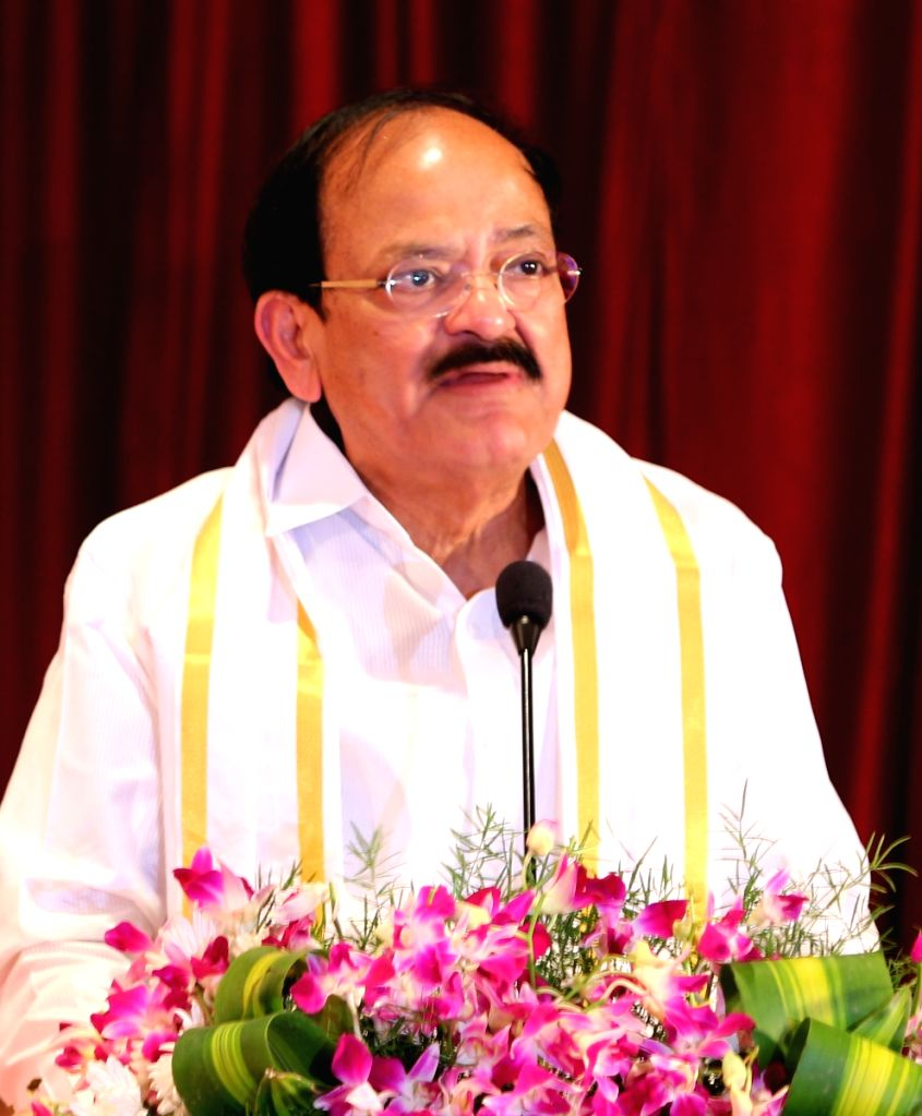 Vice President elect M Venkaiah Naidu being felicitated during a programme in Bengaluru, on Aug 6, 2017. - M Venkaiah Naidu