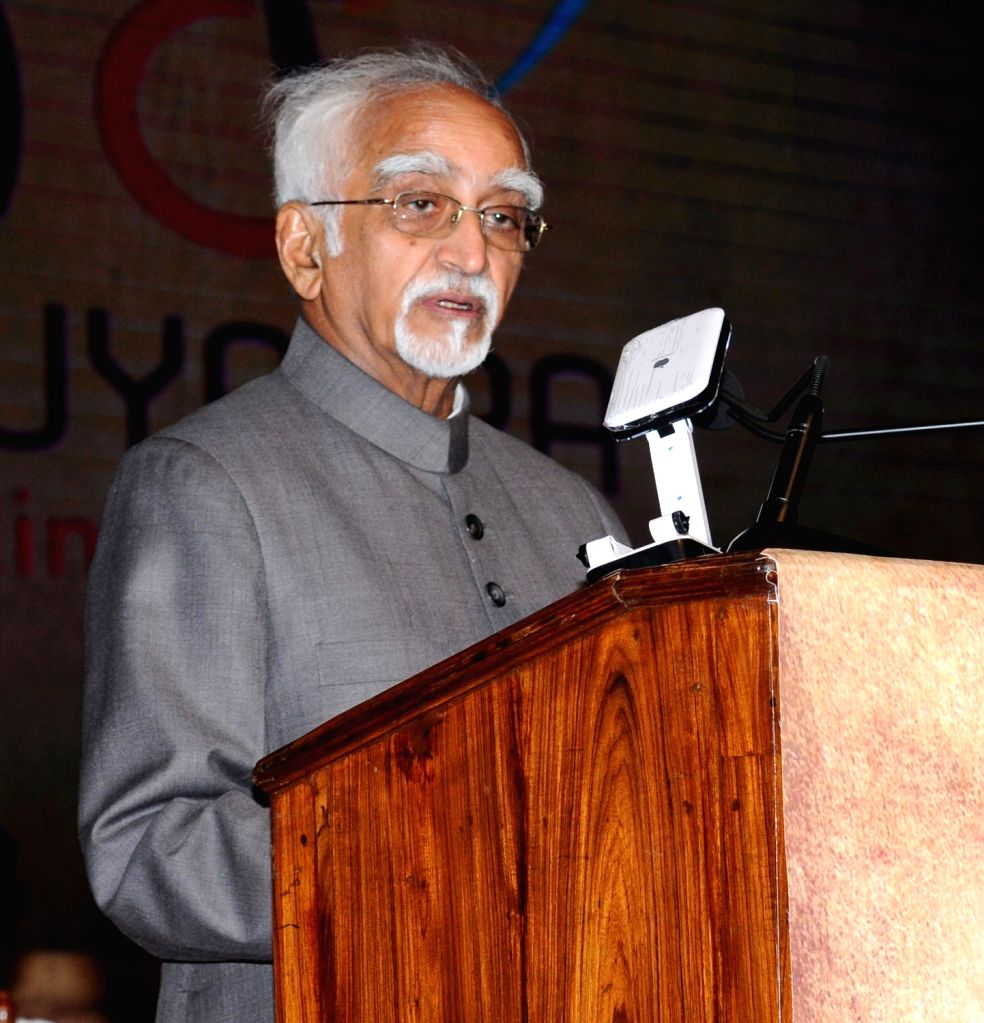 Vice President M Hamid Ansari addresses after launching MPower programme under Anuyatra' campaign of Government of Kerala, in Thiruvananthapuram on June 12, 2017.