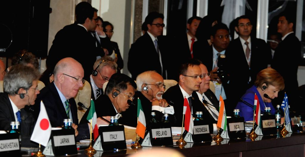 Vice President M. Hamid Ansari addresses at the 11th ASEM Summit in Ulaanbaatar, Mongolia; on July 15, 2016.