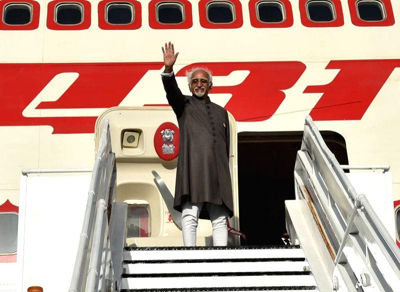 Vice President M Hamid Ansari embarks for New Delhi at Santiago Marino Caribbean International Airport after attending the 17th NAM Summit in Margarita, Venezuela on Sept 19, 2016.