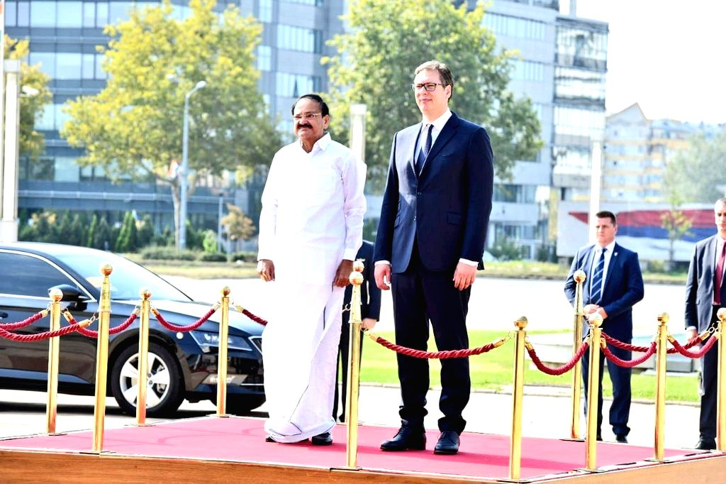 Vice President M. Venkaiah Naidu accompanied by Serbian President Aleksandar Vucic, inspects the Guard of Honour during a ceremonial reception accorded to him on his arrival at the Serbia ... - M. Venkaiah Naidu
