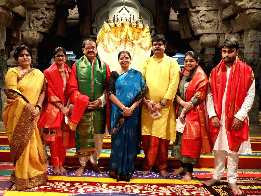 Vice President M. Venkaiah Naidu accompanied by his wife Usha and other family members at the Sri Venkateswara temple in Tirumala, Andhra Pradesh on June 4, 2019. - M. Venkaiah Naidu