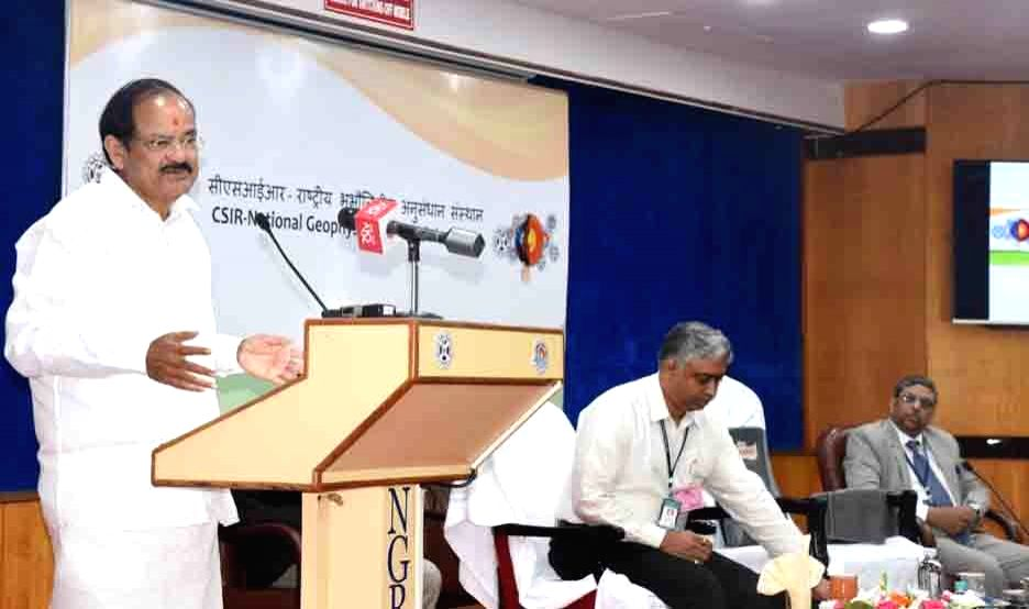 Vice President M. Venkaiah Naidu addresses scientists and researchers at National Geophysical Research Institute (NGRI), in Hyderabad on March 29, 2018. - M. Venkaiah Naidu