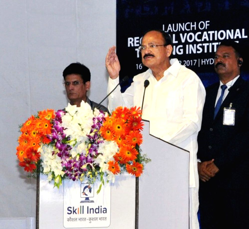 Vice President M. Venkaiah Naidu addresses a gathering after laying foundation stone for the Regional Vocational Training Institute in Hyderabad on Sept 16, 2017. - M. Venkaiah Naidu
