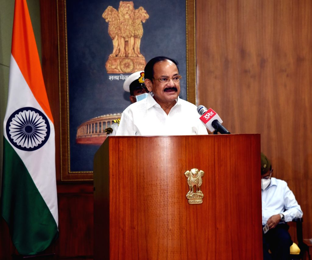 Vice President M. Venkaiah Naidu addresses after releasing the book ???NETAJI-India???s Independence and British Archives??? along with its Hindi version, in New Delhi on Aug 12, 2020. - M. Venkaiah Naidu