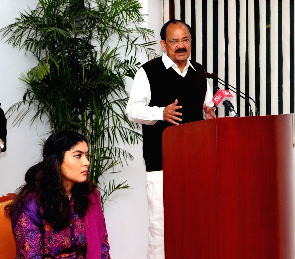 Vice President M Venkaiah Naidu addresses after releasing the Book 'Trials of Truth' authored by Pinky Anand and Gauri Goburdhun in New Delhi on Feb 13, 2018. - M Venkaiah Naidu