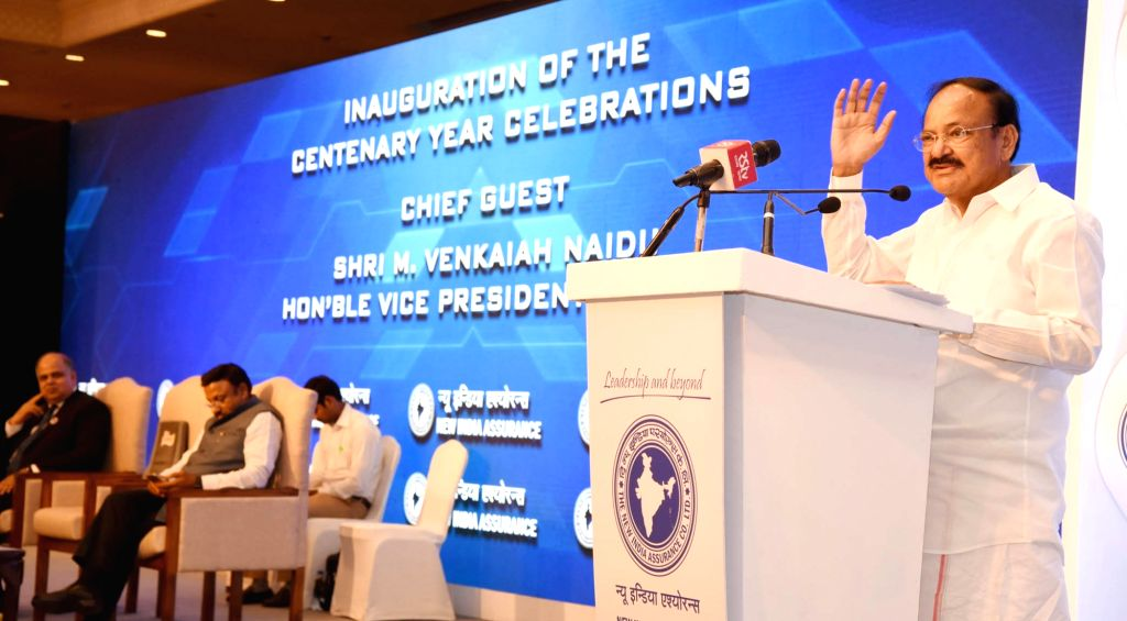 Vice President M Venkaiah Naidu addresses after inaugurating the Centenary Celebrations of The New India Assurance Company Limited, in New Delhi on July 23, 2018. - M Venkaiah Naidu