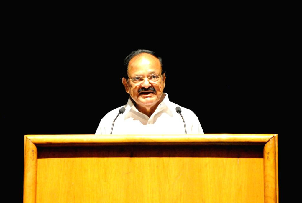"""Vice President M. Venkaiah Naidu addresses after watching the short film """"Chalo Jeete Hain"""" based on childhood incidents of the Prime Minister Narendra Modi, in New Delhi on July ... - Narendra Modi and M. Venkaiah Naidu"""