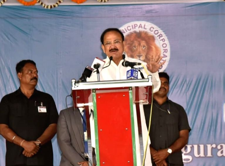 Vice President M. Venkaiah Naidu addresses after inaugurating and laying foundation stones for a string of developmental projects under the umbrella of 'Nellore Next' in Nellore, Andhra ... - M. Venkaiah Naidu
