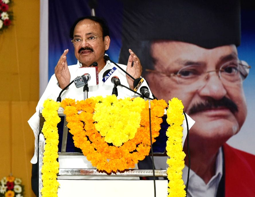 Vice President M. Venkaiah Naidu addresses after being felicitated on the conferment of Doctor Honoris Causa by the University of Peace, Costa Rica in recognition of his contribution to ... - M. Venkaiah Naidu