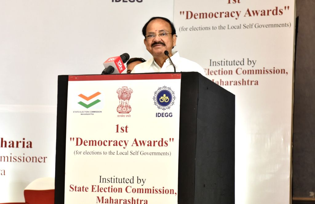 Vice President M. Venkaiah Naidu addresses after presenting the 1st Democracy Awards instituted by the State Election Commission, Maharashtra in Mumbai on July 27, 2019. - M. Venkaiah Naidu