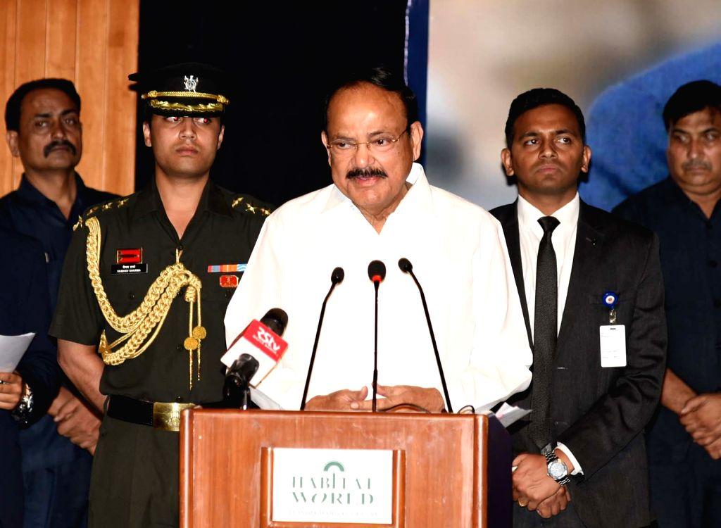Vice President M. Venkaiah Naidu addresses after releasing the book 'Parameswara to PP' in New Delhi on Sep 27, 2019. - M. Venkaiah Naidu