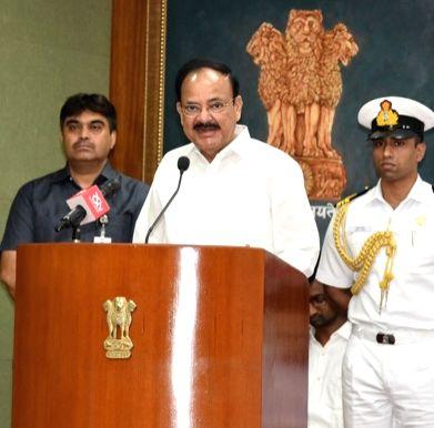 Vice President M. Venkaiah Naidu addresses after presenting the 28th Saraswati Samman in New Delhi, on Sep 28, 2019. - M. Venkaiah Naidu