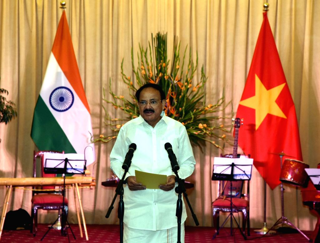 Vice President M. Venkaiah Naidu addresses at a banquet hosted by the Vietnam Vice President at the State Guest House in Hanoi, Vietnam on May 10, 2019. - M. Venkaiah Naidu
