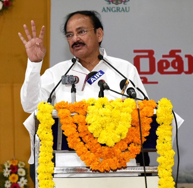 Vice President M. Venkaiah Naidu addresses at an interactive programme of farmers and scientists, in Vijayawada, Andhra Pradesh on March 15, 2019. - M. Venkaiah Naidu