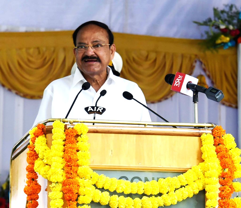 Vice President M. Venkaiah Naidu addresses at an interaction with scientists and researchers of the Centre for Cellular & Molecular Biology (CCMB), in Hyderabad on Jan 27, 2020. - M. Venkaiah Naidu