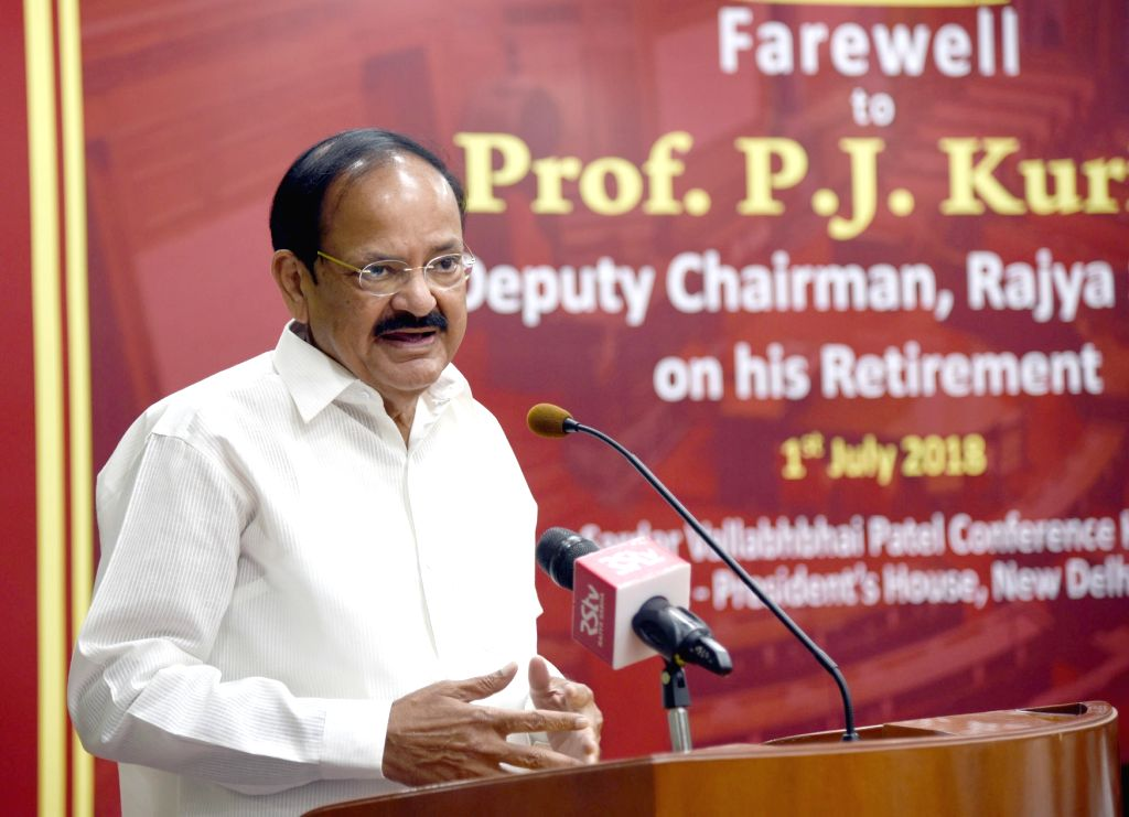 Vice President M. Venkaiah Naidu addresses at the farewell programme organised for outgoing Rajya Sabha Deputy Chairperson P.J. Kurien, in New Delhi on July 1, 2018. - M. Venkaiah Naidu