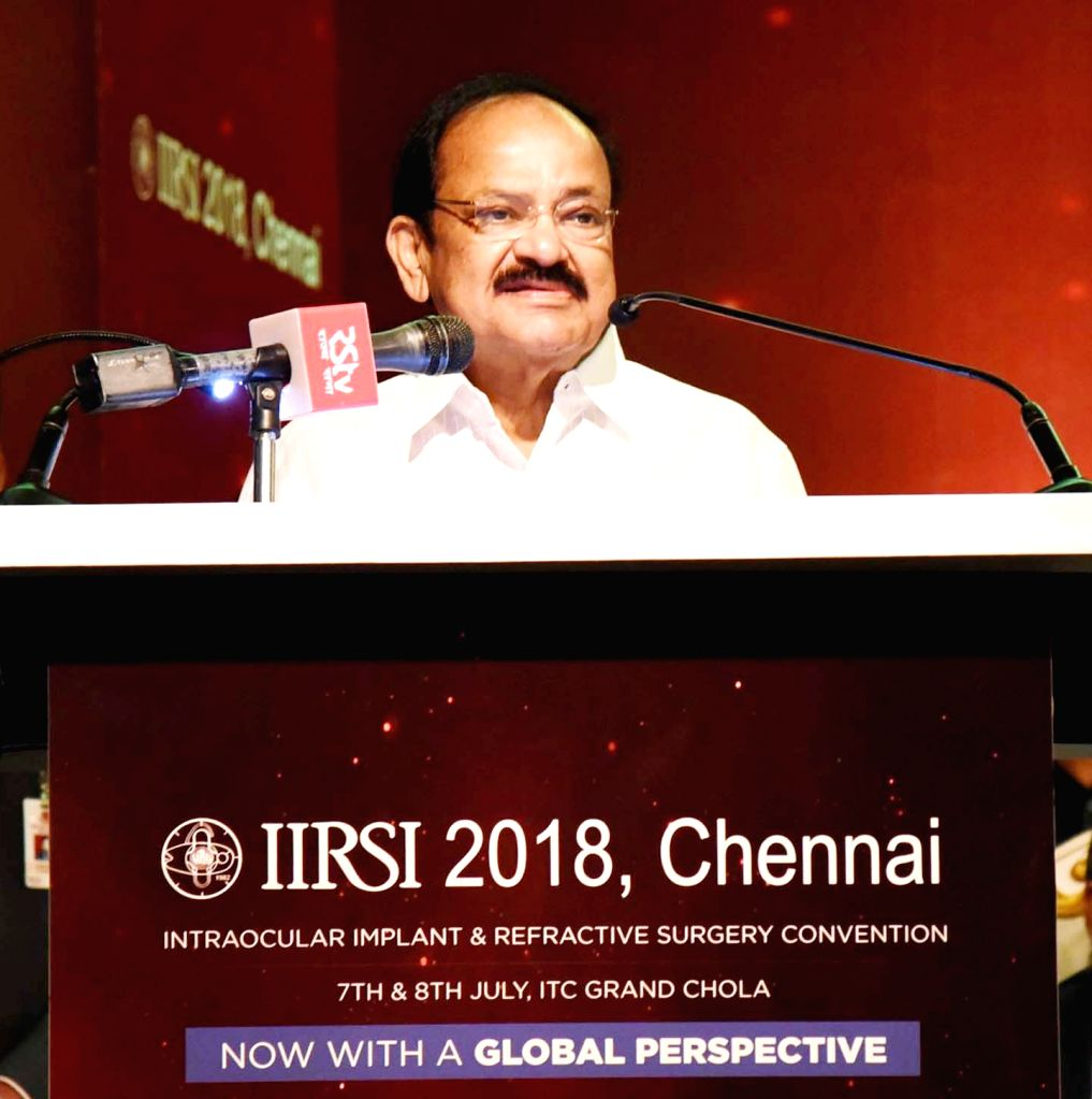 Vice President M. Venkaiah Naidu addresses at the 32nd Intraocular Implant and Refractive Surgery Convention 2018, in Chennai on July 7, 2018. Also seen Tamil Nadu Fisheries Minister D. ... - D. Jayakumar and M. Venkaiah Naidu