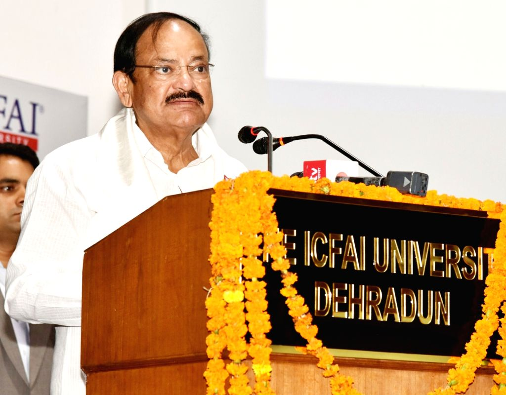 Vice President M. Venkaiah Naidu addresses at the Convocation of ICFAI University, in Dehradun on July 14, 2018. - M. Venkaiah Naidu