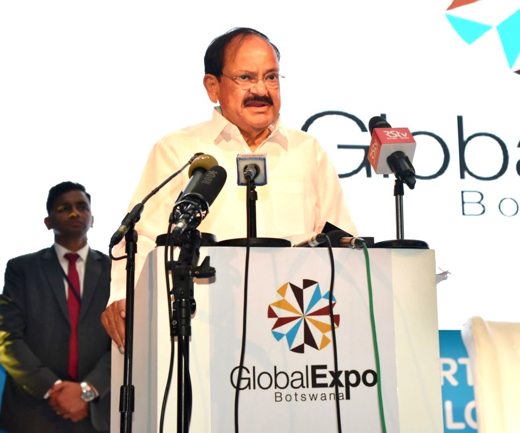 Vice President M. Venkaiah Naidu addresses at the inauguration of the Global Expo Botswana 2018 in Gaborone, Botswana, on Oct 31, 2018. - M. Venkaiah Naidu
