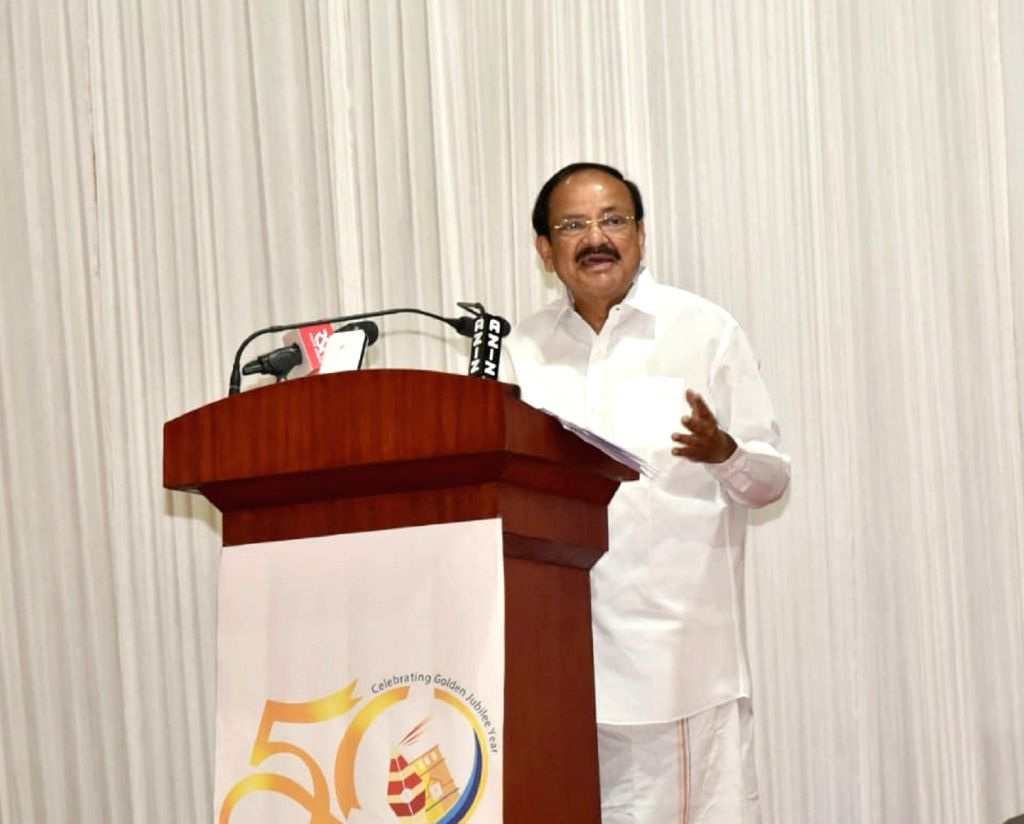 Vice President M Venkaiah Naidu addresses at the Golden Jubilee celebrations of Kollam Press Club, in Kollam, Kerala on Feb 2, 2019. - M Venkaiah Naidu