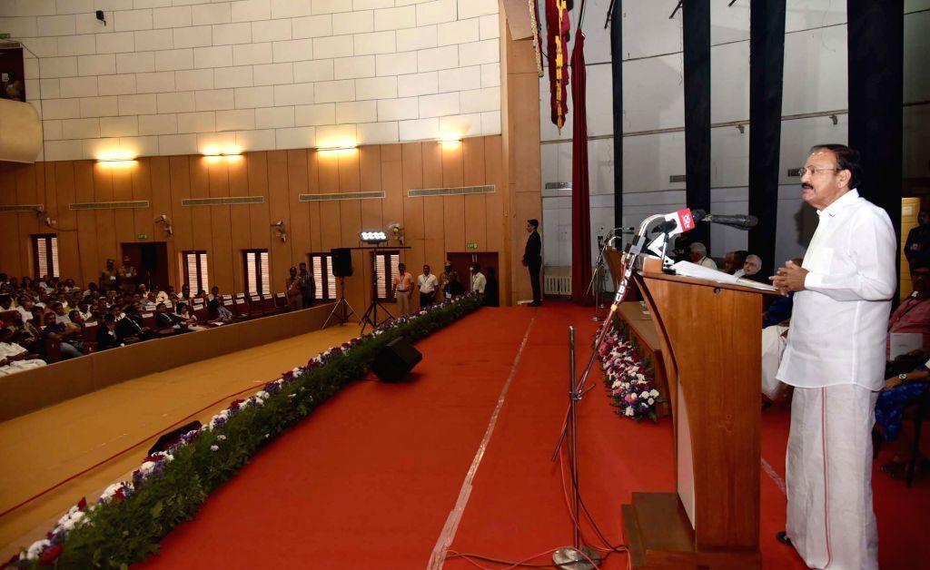Vice President M Venkaiah Naidu addresses at the 90th anniversary celebrations of Akhila Kerala Balajanasakhyam, in Kottayam, Kerala on Feb 2, 2019. - M Venkaiah Naidu