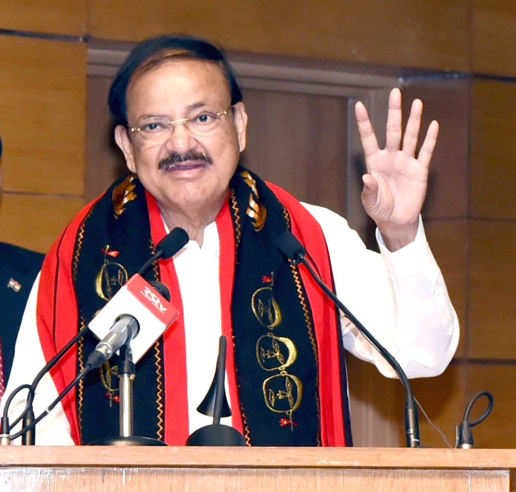 Vice President M. Venkaiah Naidu addresses at the Foundation Day Lecture of National Commission for Scheduled Tribes (NCST) on 'Constitution and Tribes', in New Delhi, on Feb 19, 2019. - M. Venkaiah Naidu