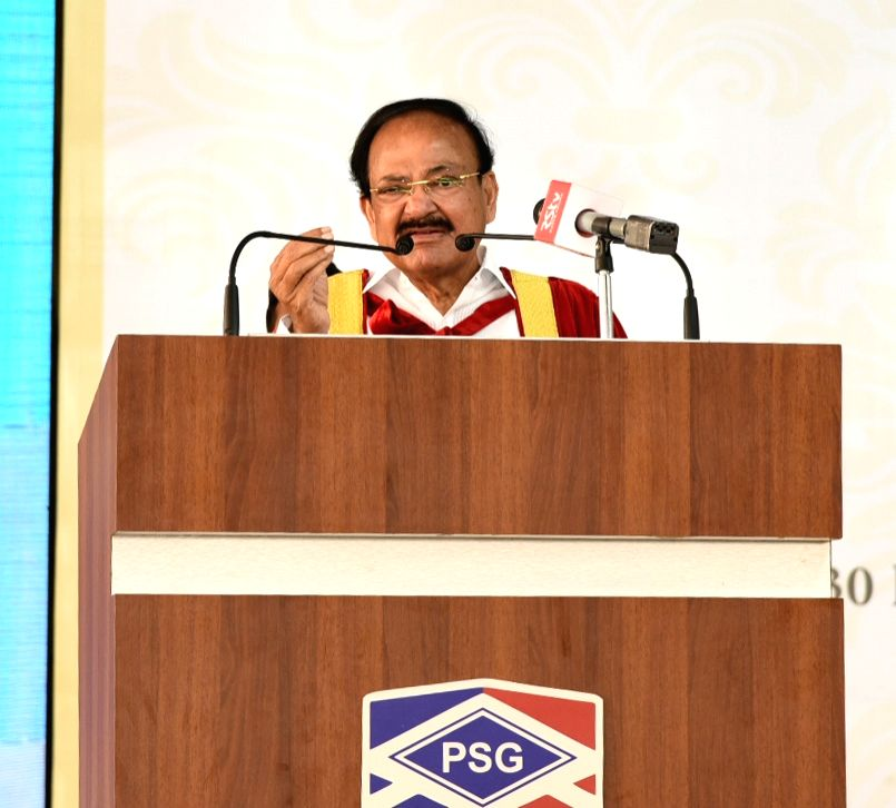 Vice President M. Venkaiah Naidu addresses at the first graduation ceremony of PSG Institute of Technology and Applied Research in Coimbatore, Tamil Nadu on March 14, 2019. - M. Venkaiah Naidu