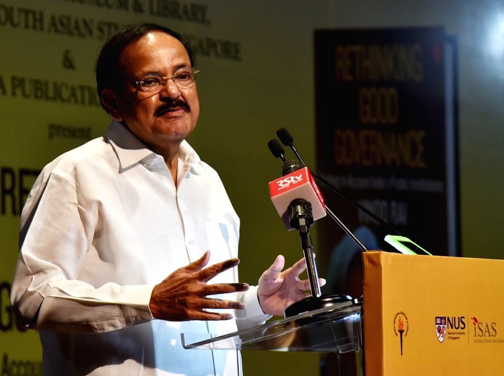 Vice President M. Venkaiah Naidu addresses at the launch of the book titled   'Rethinking Good Governance' authored by the former CAG Vinod Rai, in New Delhi on Sep 13, 2019. - M. Venkaiah Naidu and Vinod Rai