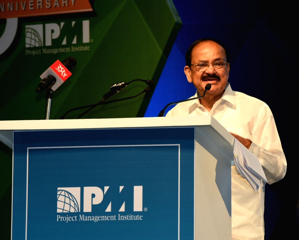 Vice President M. Venkaiah Naidu addresses at the inauguration of the 11th Project Management National Conference, India 2019, in Hyderabad on Sep 21, 2019. - M. Venkaiah Naidu