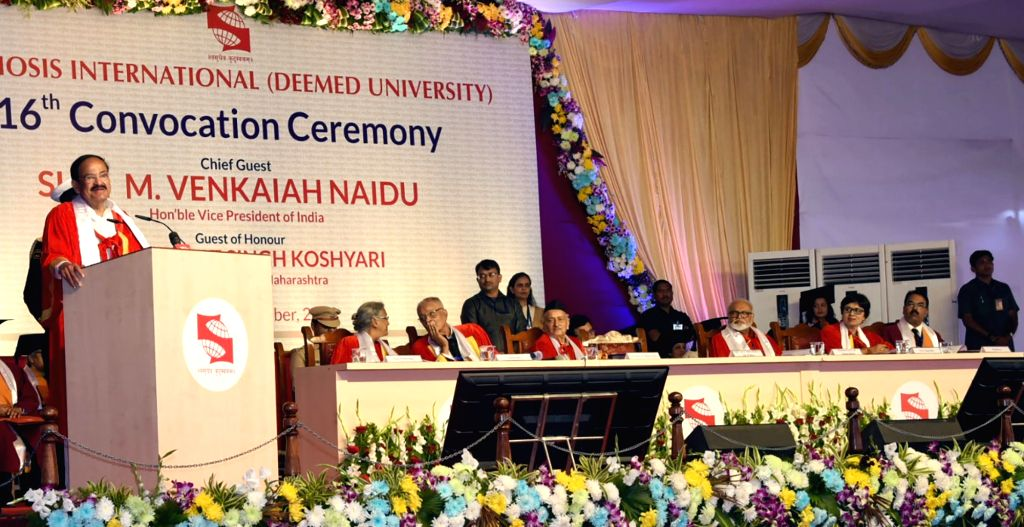 Vice President M Venkaiah Naidu addresses at the 16th Convocation Ceremony of Symbiosis International (Deemed University), in Pune on Dec 8, 2019. - M Venkaiah Naidu