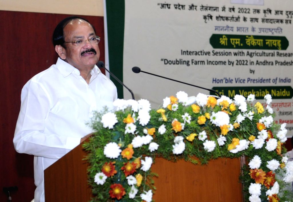 Vice President M. Venkaiah Naidu addresses during an interactive session with the agricultural researchers on 'Doubling Farm Income by 2022 in Andhra Pradesh and Telangana', at Indian ... - M. Venkaiah Naidu